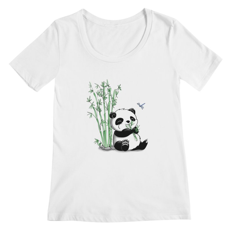 Panda Eating Bamboo Women's Scoopneck by Tootsiecool's Artist Shop