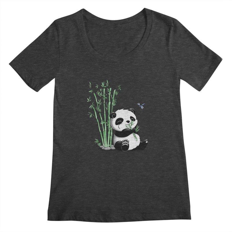 Panda Eating Bamboo Women's Scoopneck by Tootsiecool's Artist Shop