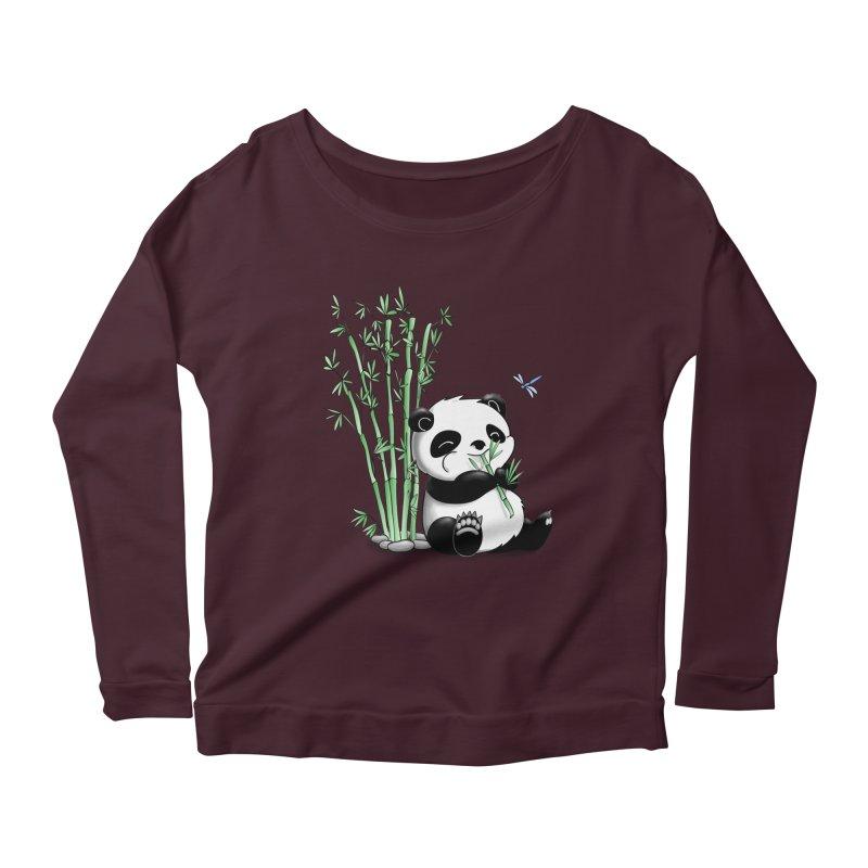 Panda Eating Bamboo Women's Longsleeve Scoopneck  by Tootsiecool's Artist Shop