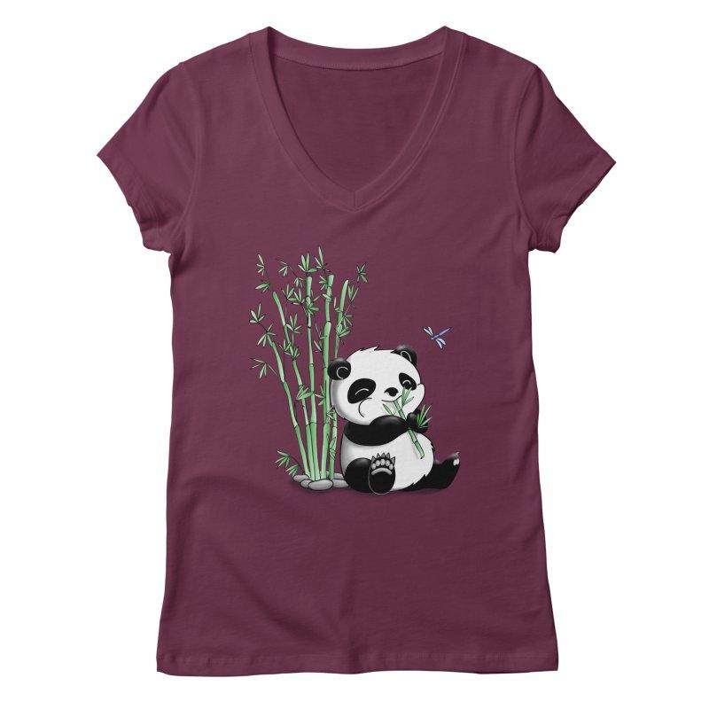 Panda Eating Bamboo Women's V-Neck by Tootsiecool's Artist Shop