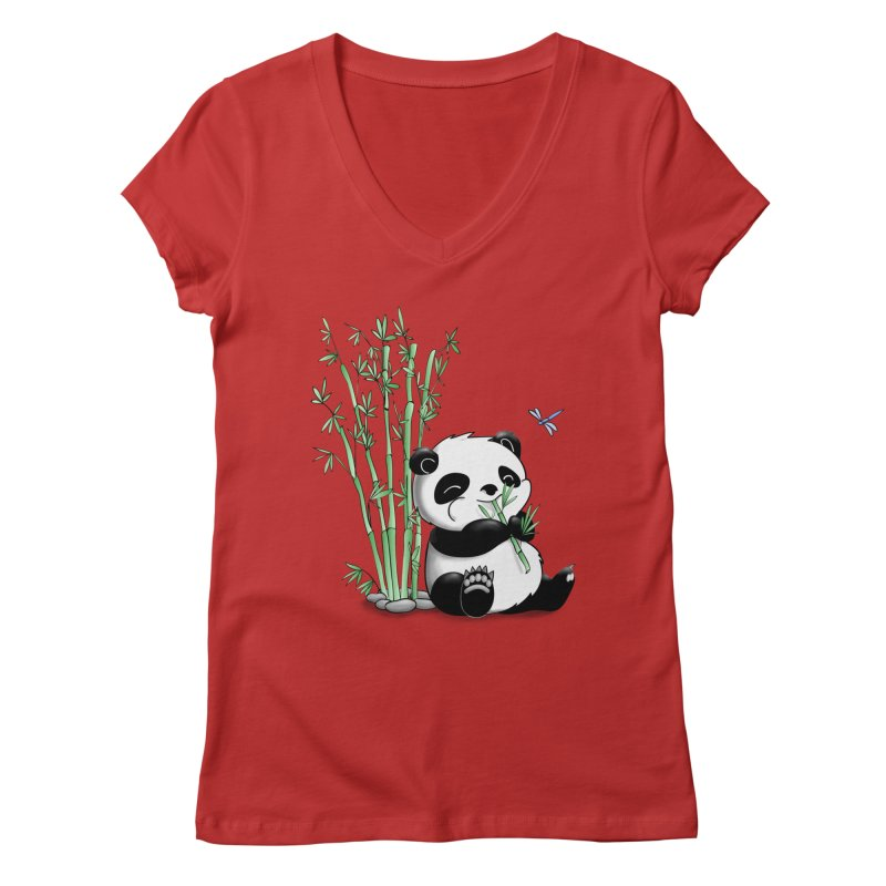 Panda Eating Bamboo Women's V-Neck by Tootsiecool's Artist Shop