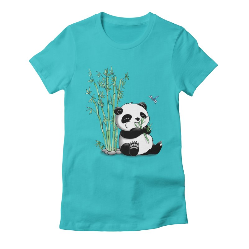 Panda Eating Bamboo Women's Fitted T-Shirt by Tootsiecool's Artist Shop