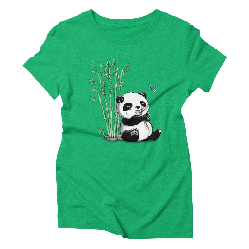 Panda Eating Bamboo Women's Triblend T-Shirt by Tootsiecool's Artist Shop