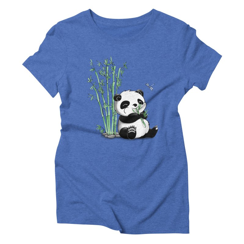 Panda Eating Bamboo Women's Triblend T-shirt by Tootsiecool's Artist Shop