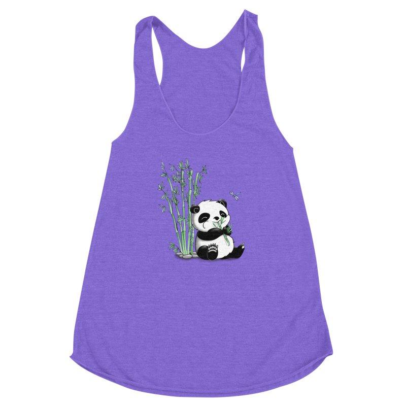 Panda Eating Bamboo Women's Racerback Triblend Tank by Tootsiecool's Artist Shop