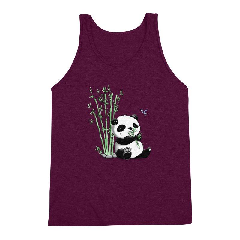 Panda Eating Bamboo Men's Triblend Tank by Tootsiecool's Artist Shop
