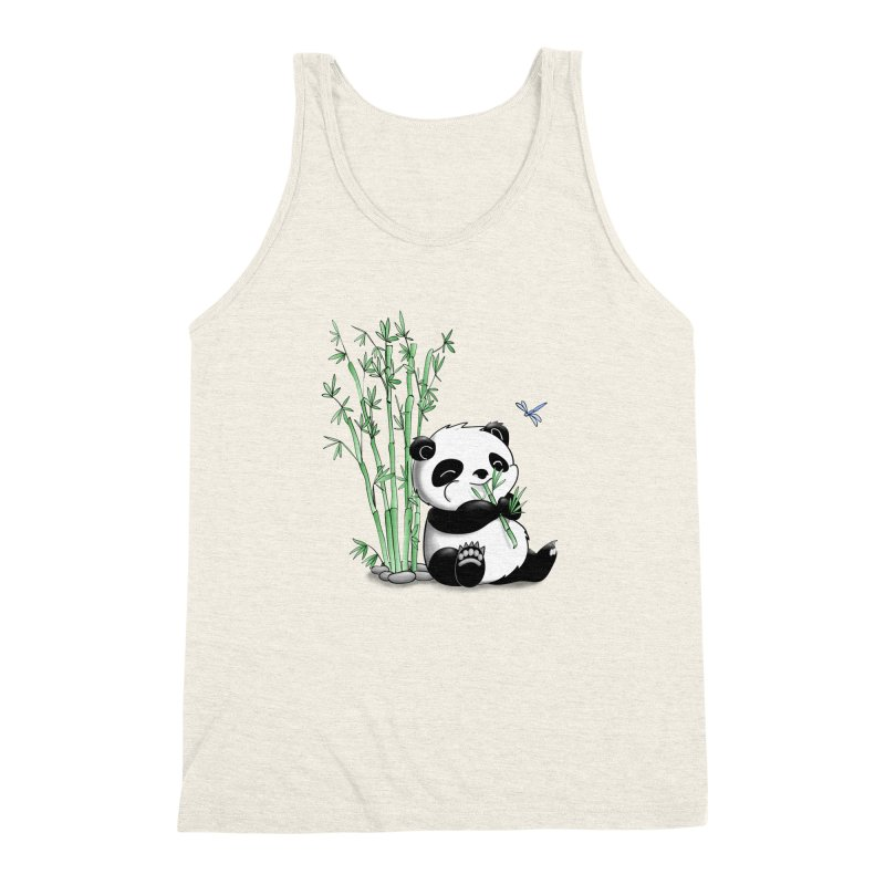 Panda Eating Bamboo Men's Triblend Tank by Tootsiecool's Artist Shop