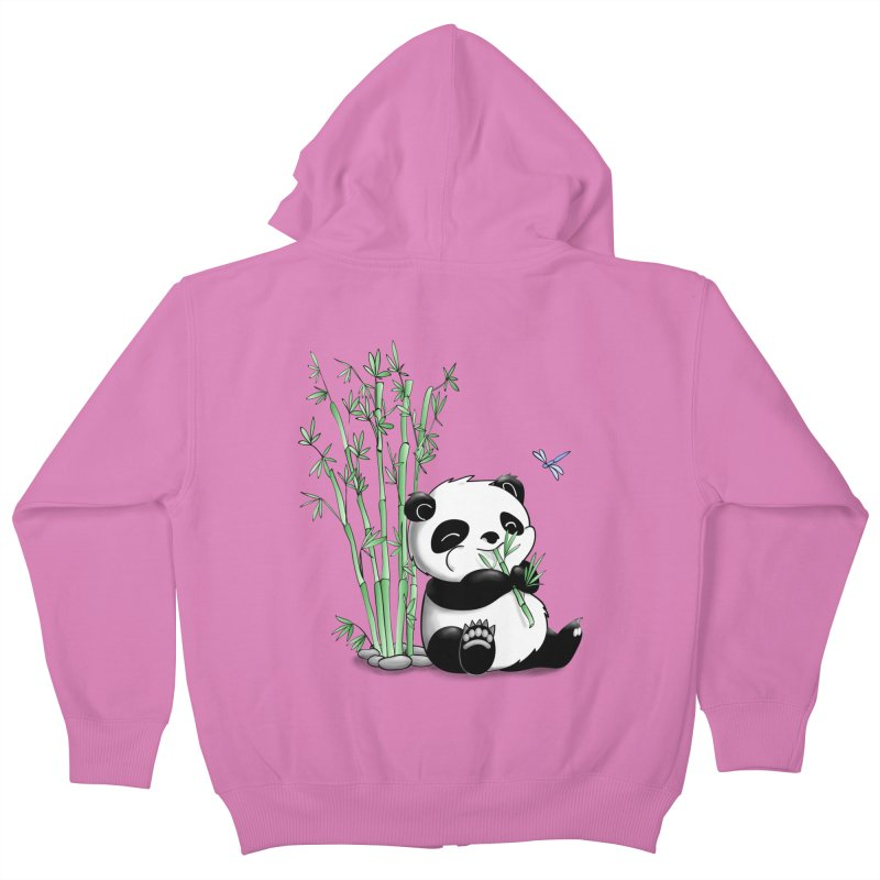 Panda Eating Bamboo Kids Zip-Up Hoody by Tootsiecool's Artist Shop