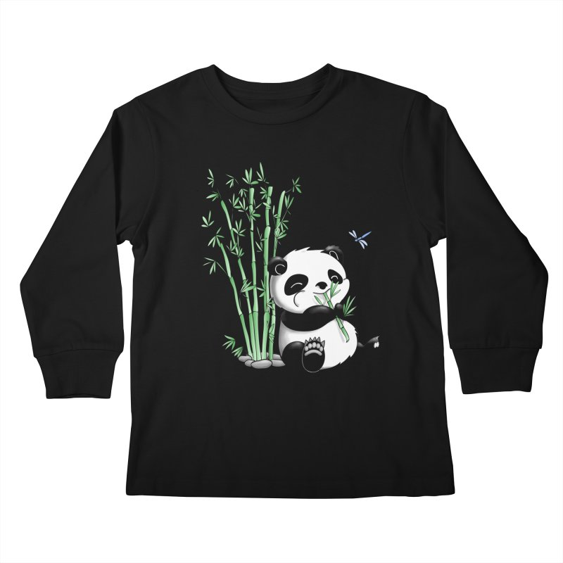Panda Eating Bamboo Kids Longsleeve T-Shirt by Tootsiecool's Artist Shop