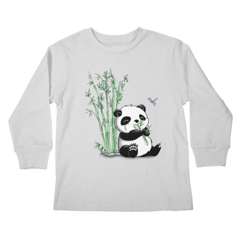 Panda Eating Bamboo Kids Longsleeve T-Shirt by Tootsiecool's Artist Shop