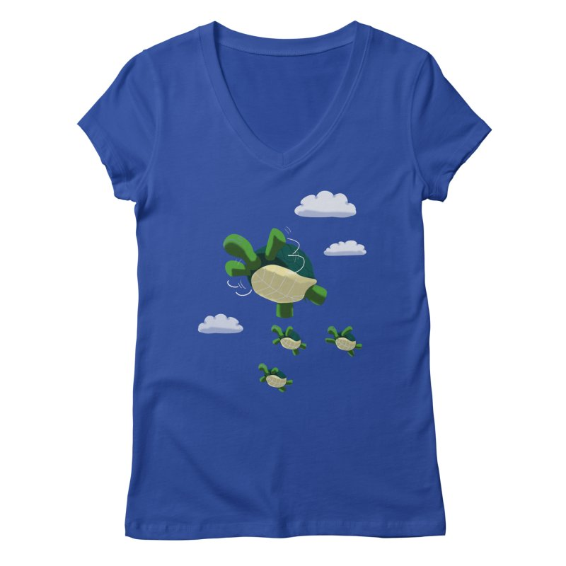 Flying Turtles Women's V-Neck by Tootsiecool's Artist Shop