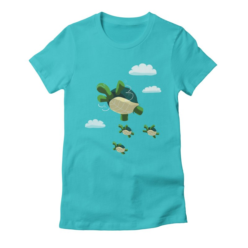 Flying Turtles Women's Fitted T-Shirt by Tootsiecool's Artist Shop