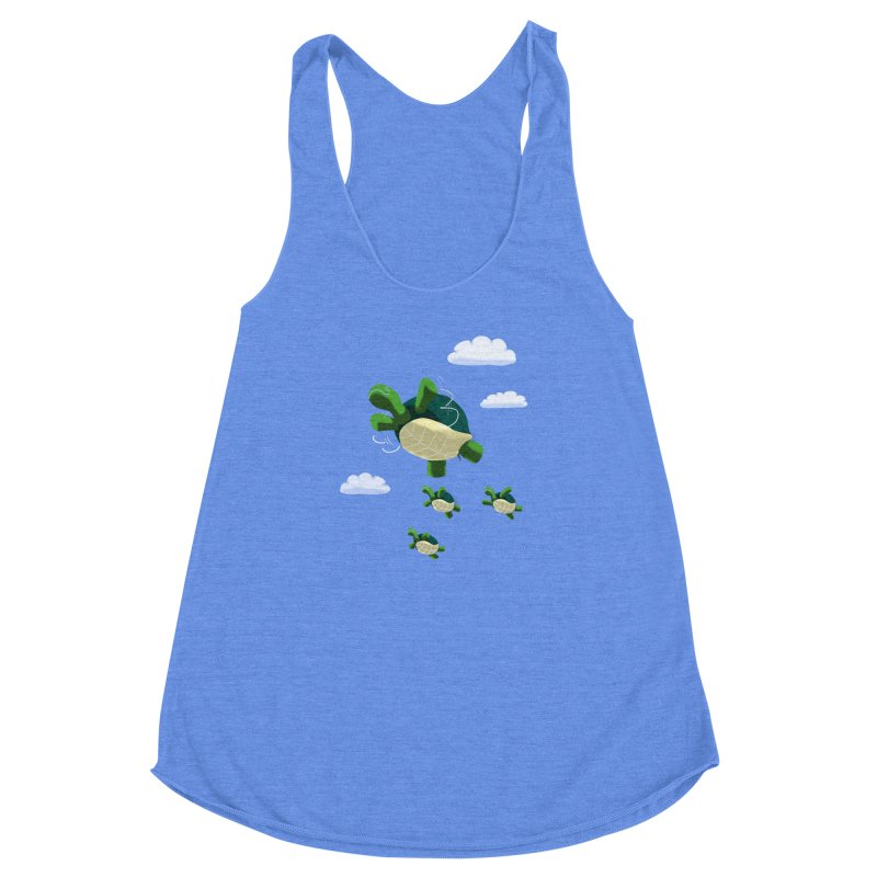 Flying Turtles Women's Racerback Triblend Tank by Tootsiecool's Artist Shop