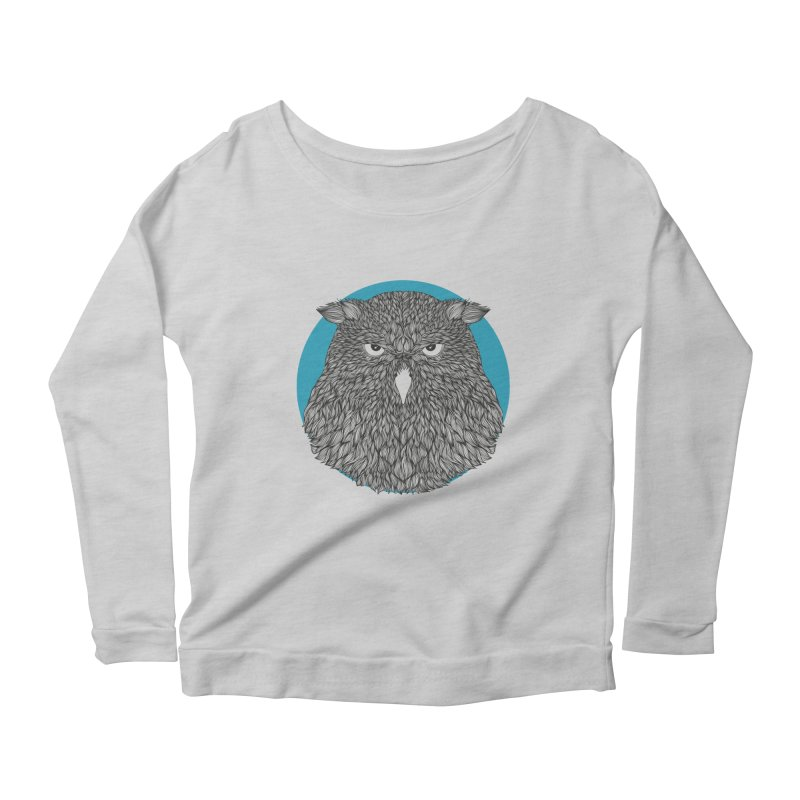 Owl Women's Longsleeve Scoopneck  by topodos's Artist Shop