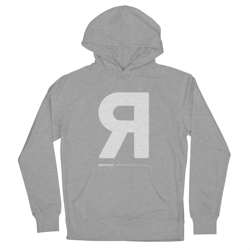 Response Performance Festival - white logo Women's French Terry Pullover Hoody by Torn Space Theater's Artist Shop
