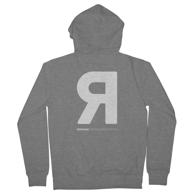 Response Performance Festival - white logo Men's French Terry Zip-Up Hoody by Torn Space Theater Merch
