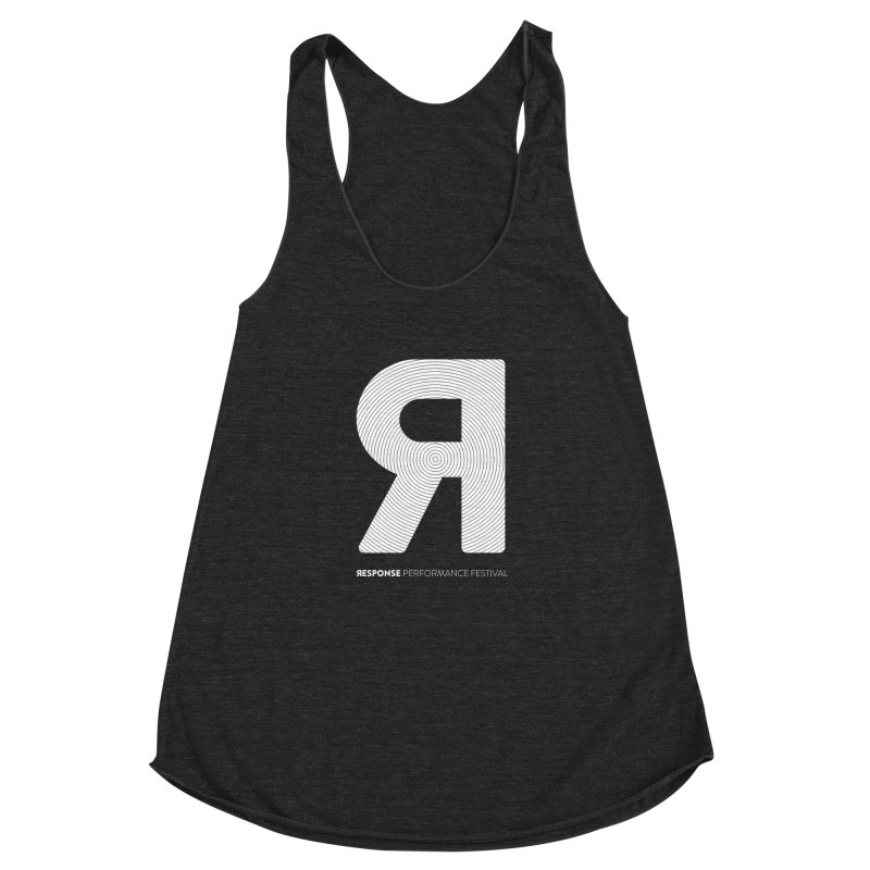 Response Performance Festival - white logo Women's Racerback Triblend Tank by Torn Space Theater Merch