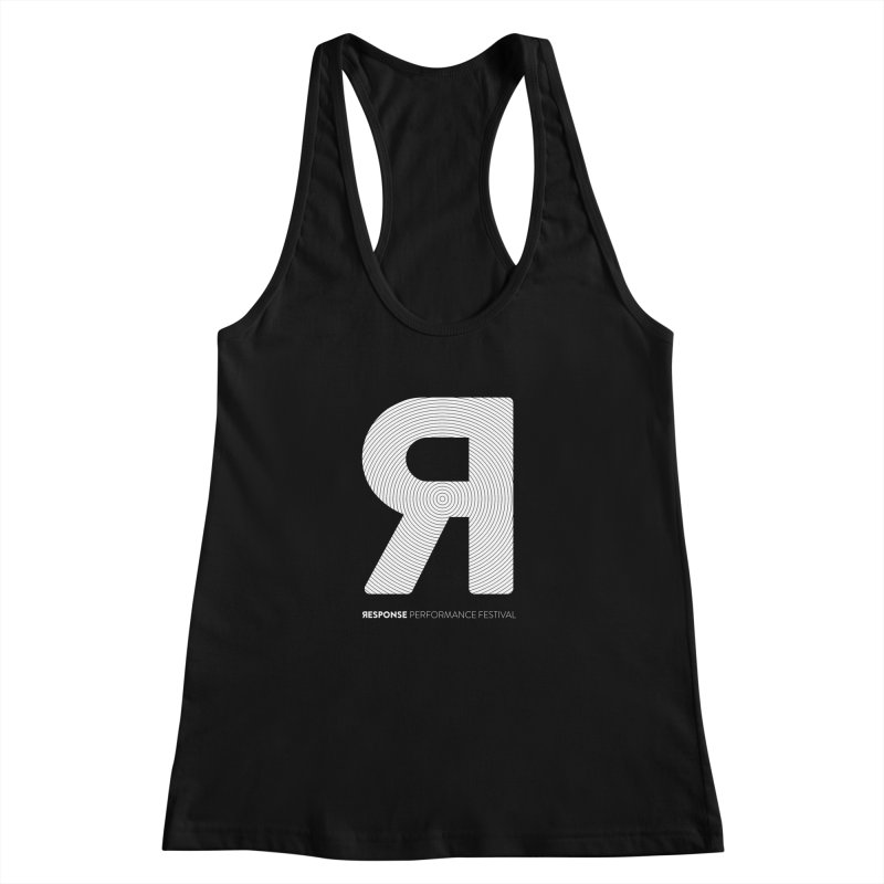 Response Performance Festival - white logo Women's Racerback Tank by Torn Space Theater's Artist Shop