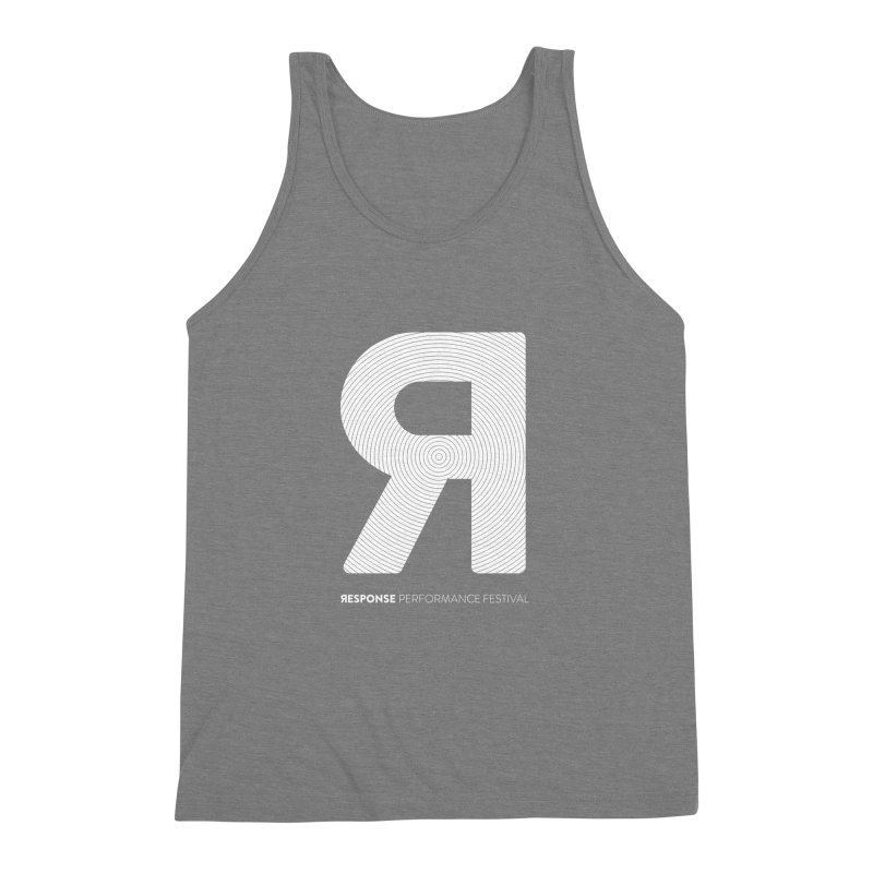 Response Performance Festival - white logo Men's Triblend Tank by Torn Space Theater's Artist Shop
