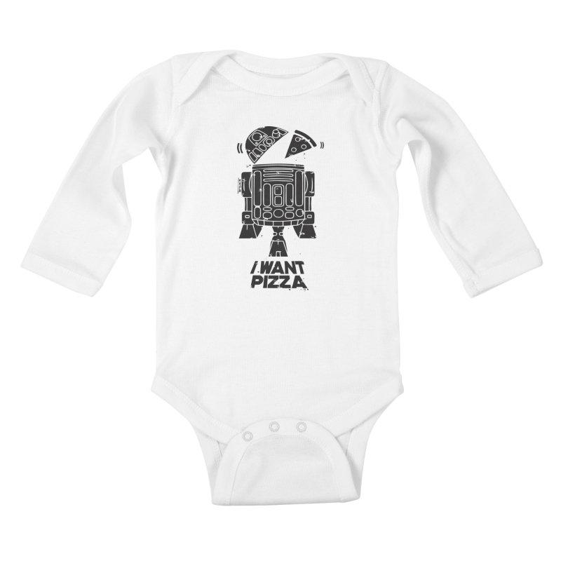 I Want pizza Kids Baby Longsleeve Bodysuit by torquatto's Artist Shop