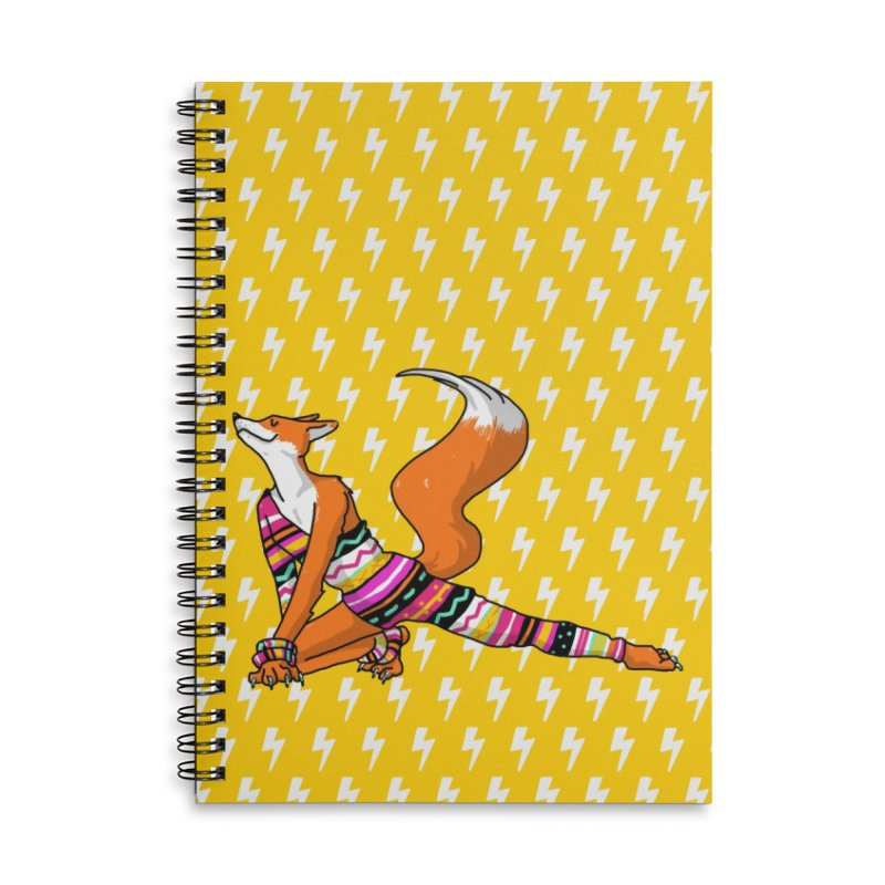 Let's dance! Dancing fox in David-bowie-inspired Eighties attire Accessories Lined Spiral Notebook by Tostoini