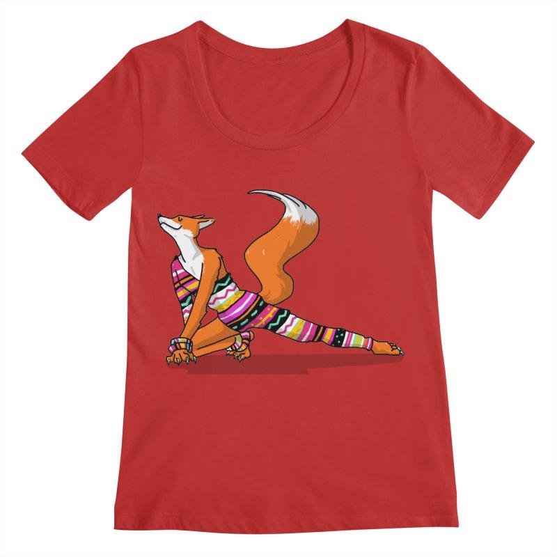 Let's dance! Dancing fox in David-bowie-inspired Eighties attire Women's Regular Scoop Neck by Tostoini