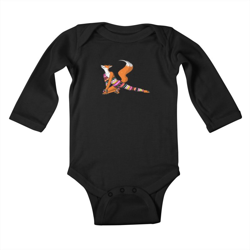 Let's dance! Dancing fox in David-bowie-inspired Eighties attire Kids Baby Longsleeve Bodysuit by Tostoini