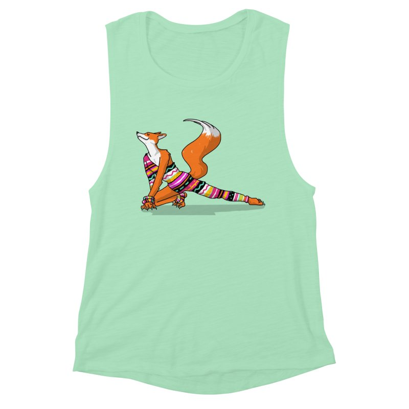 Let's dance! Dancing fox in David-bowie-inspired Eighties attire Women's Muscle Tank by Tostoini