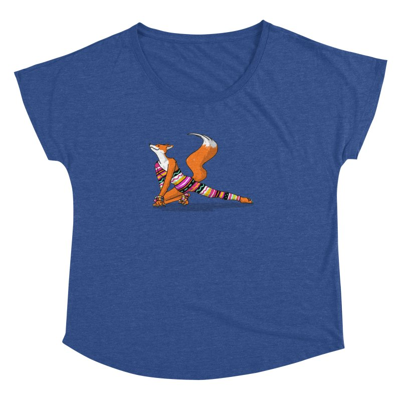 Let's dance! Dancing fox in David-bowie-inspired Eighties attire Women's Dolman Scoop Neck by Tostoini