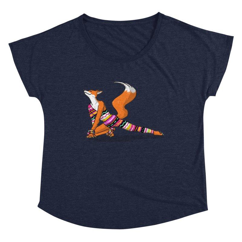 Let's dance! Dancing fox in David-bowie-inspired Eighties attire Women's Dolman Scoop Neck by Tostoini