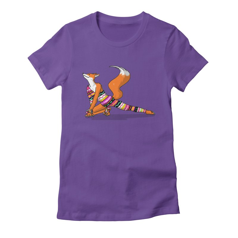 Let's dance! Dancing fox in David-bowie-inspired Eighties attire Women's Fitted T-Shirt by Tostoini
