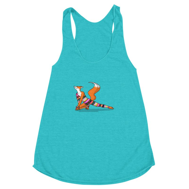 Let's dance! Dancing fox in David-bowie-inspired Eighties attire Women's Racerback Triblend Tank by Tostoini