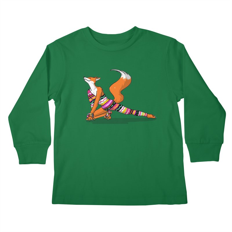 Let's dance! Dancing fox in David-bowie-inspired Eighties attire Kids Longsleeve T-Shirt by Tostoini
