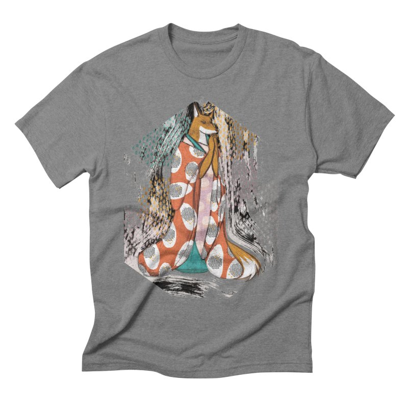 Madame Kitsune - fox illustration inspired by japanese folklore Men's Triblend T-Shirt by Tostoini