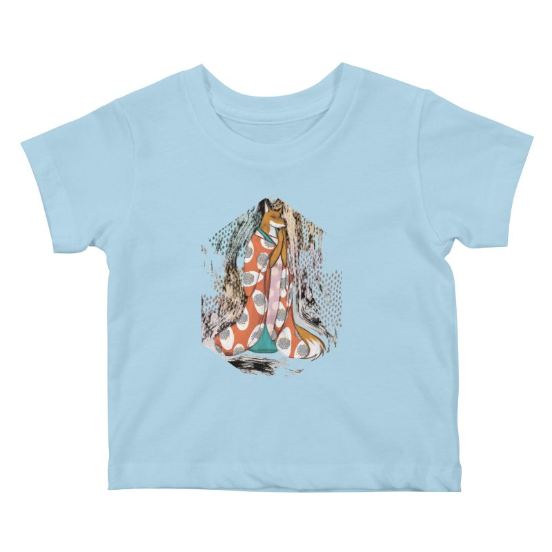 Madame Kitsune - fox illustration inspired by japanese folklore Kids Baby T-Shirt by Tostoini