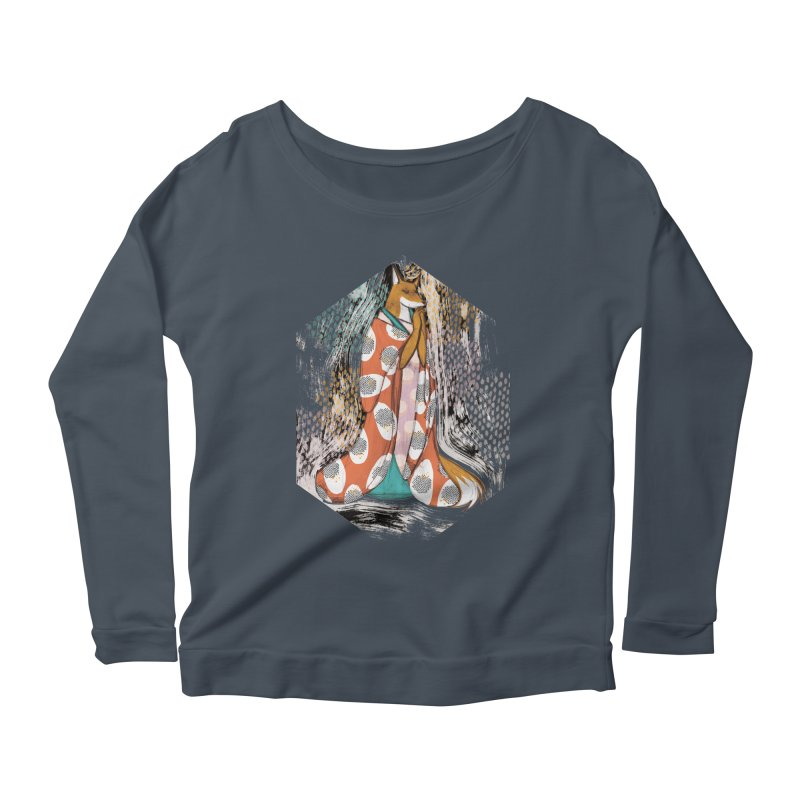 Madame Kitsune - fox illustration inspired by japanese folklore Women's Scoop Neck Longsleeve T-Shirt by Tostoini