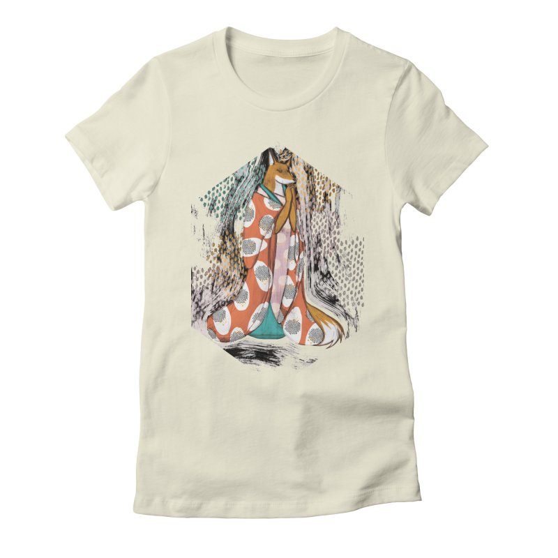 Madame Kitsune - fox illustration inspired by japanese folklore Women's Fitted T-Shirt by Tostoini