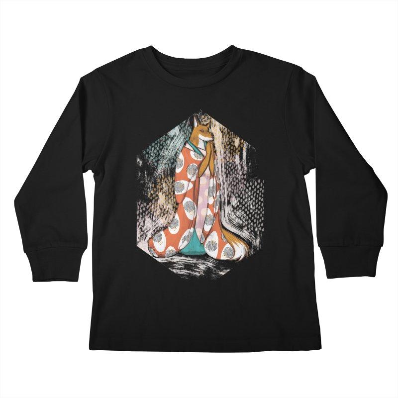 Madame Kitsune - fox illustration inspired by japanese folklore Kids Longsleeve T-Shirt by Tostoini