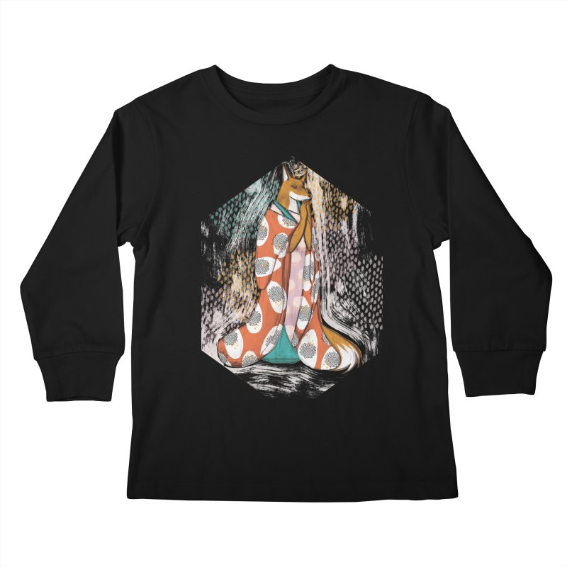 Madame Kitsune - fox illustration inspired by japanese folklore Kids Longsleeve T-Shirt by Tostoini