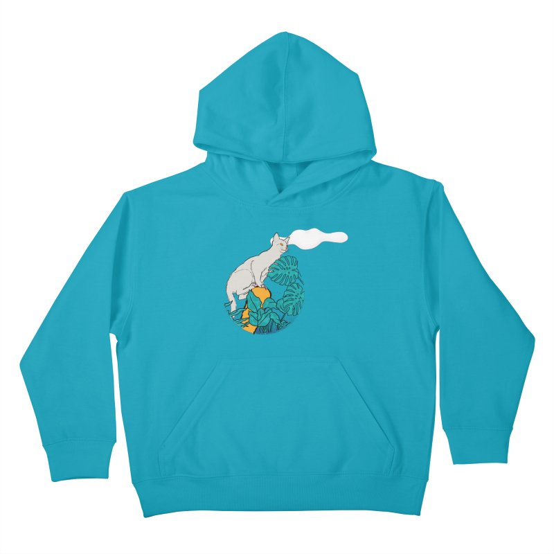My cat the jungle explorer Kids Pullover Hoody by Tostoini