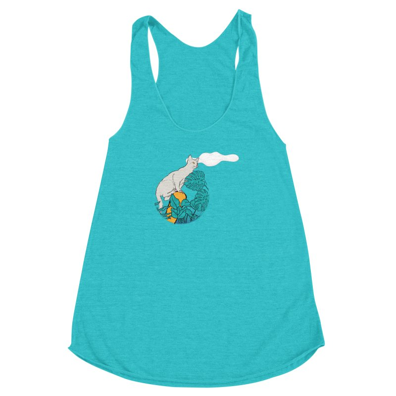 My cat the jungle explorer Women's Racerback Triblend Tank by Tostoini