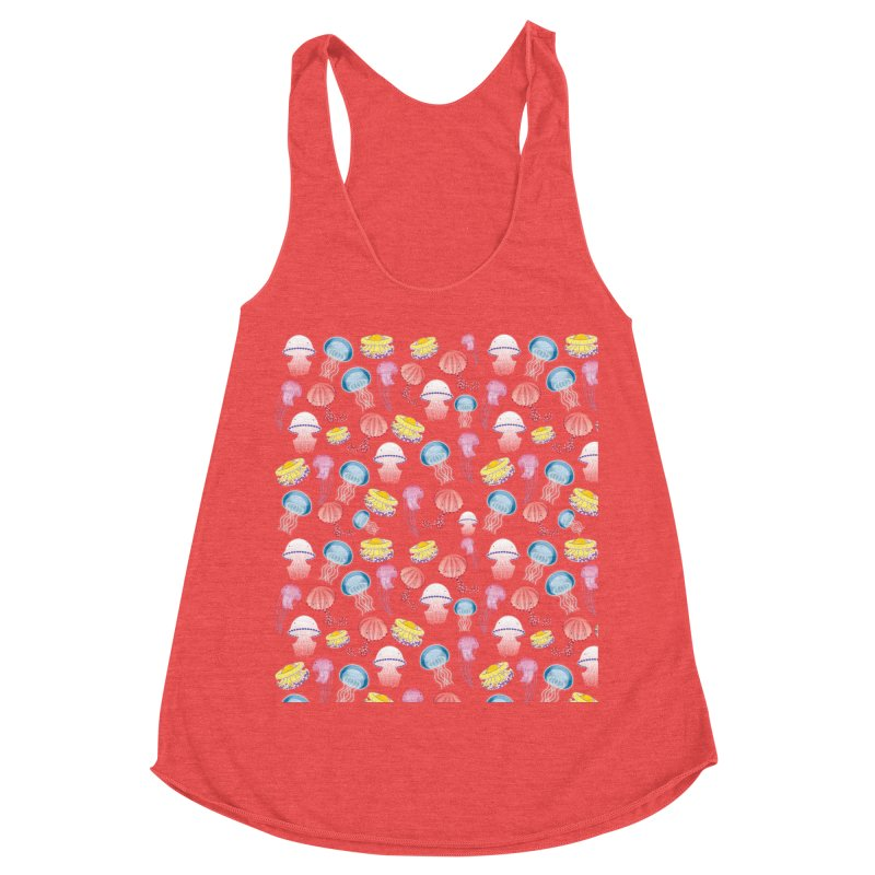 Jellyfishes of the Mediterranean Sea Women's Racerback Triblend Tank by Tostoini