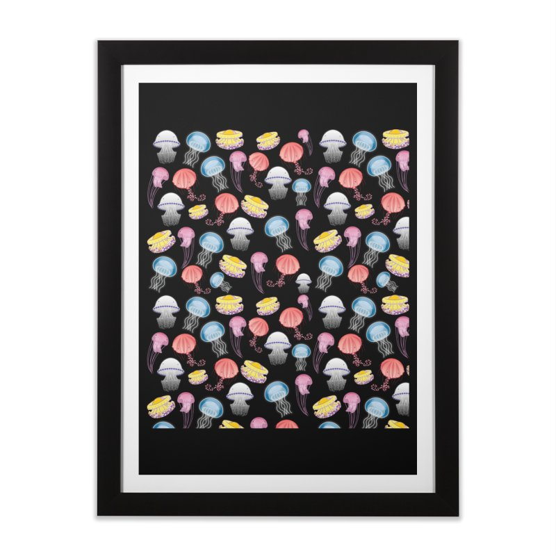 Jellyfishes of the Mediterranean Sea Home Framed Fine Art Print by Tostoini