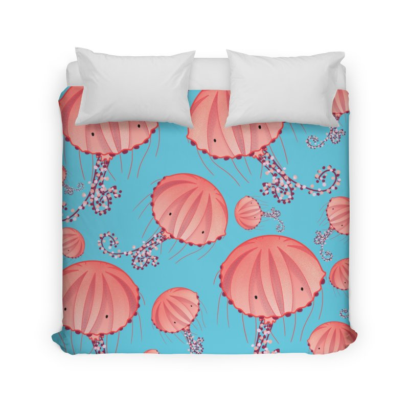 Chrysaora Hysoscella | Jellyfishes of the Mediterranean Sea Home Duvet by Tostoini