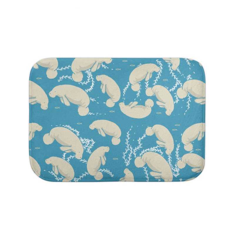 Lamentino the manatee Home Bath Mat by Tostoini
