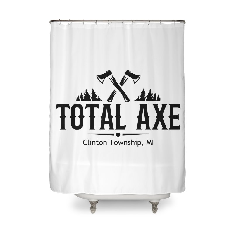 Total Axe Black Logo Home Shower Curtain by Total Axe Throwing Online Shop