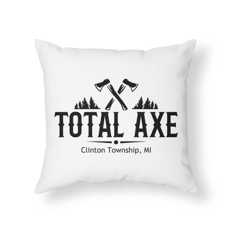 Total Axe Black Logo Home Throw Pillow by Total Axe Throwing Online Shop