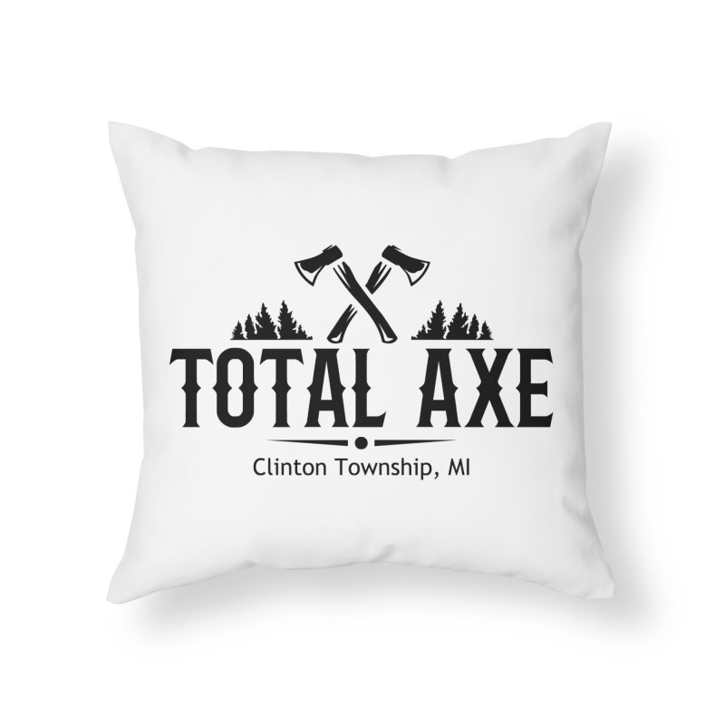 Total Axe Black Logo Home Throw Pillow by Total Axe Throwing Online Shop
