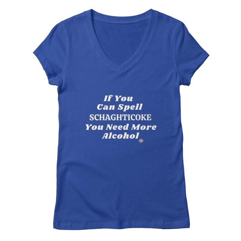 Schaghticoke Spelling Shirt Women's V-Neck by Townsquare Media Albany's Artist Shop