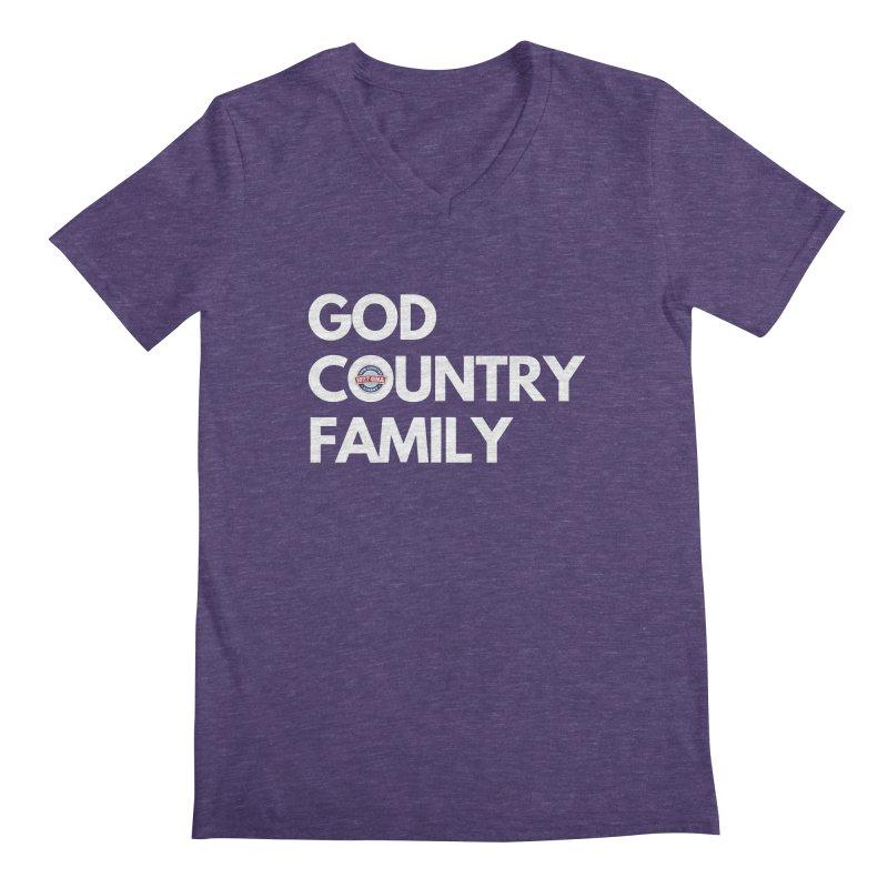 God, Country, Family Shirt Men's V-Neck by Townsquare Media Albany's Artist Shop